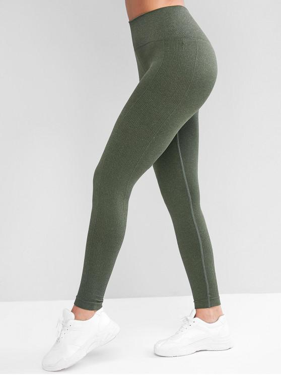 online High Waisted Ribbed Panel Sports Leggings - ARMY GREEN L