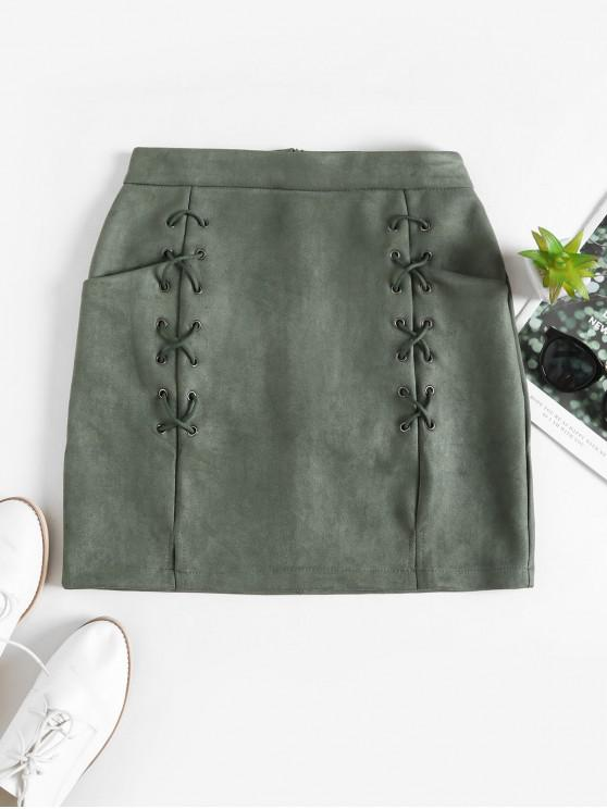 latest Lace Up Slit Pockets Faux Suede Mini Skirt - GREEN S