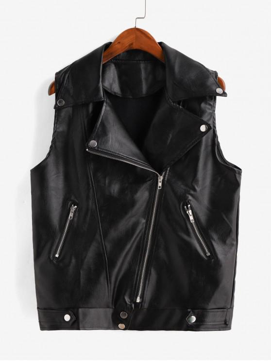 shops Faux Leather Zip Turndown Collar Pocket Waistcoat - BLACK L