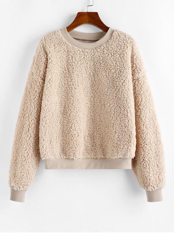 best ZAFUL Plain Faux Fur Long Sleeve Teddy Sweatshirt - APRICOT XL