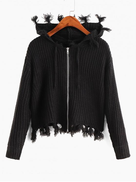 shops Hooded Zip Frayed Drawstring Cardigan - BLACK ONE SIZE