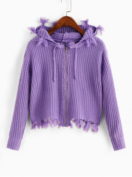 outfits Hooded Zip Frayed Drawstring Cardigan - PURPLE ONE SIZE