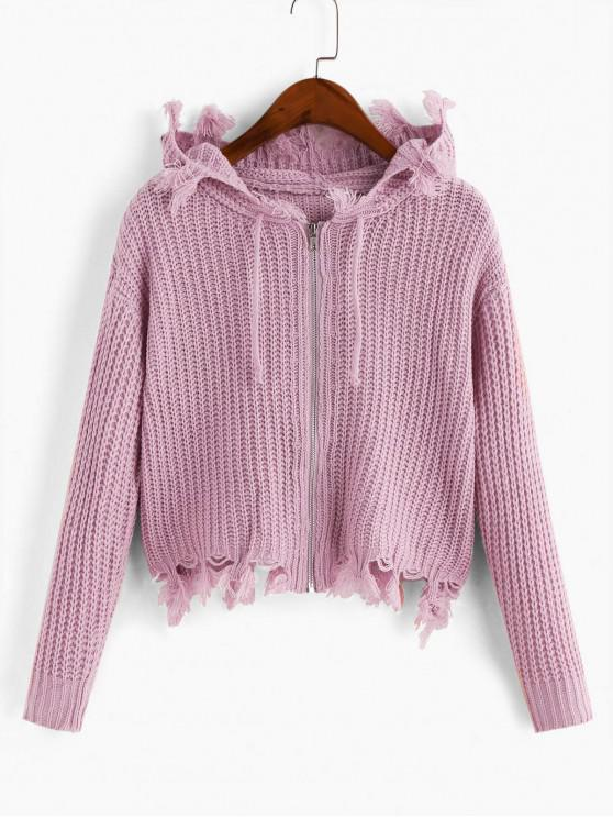 shops Hooded Zip Frayed Drawstring Cardigan - PINK ONE SIZE