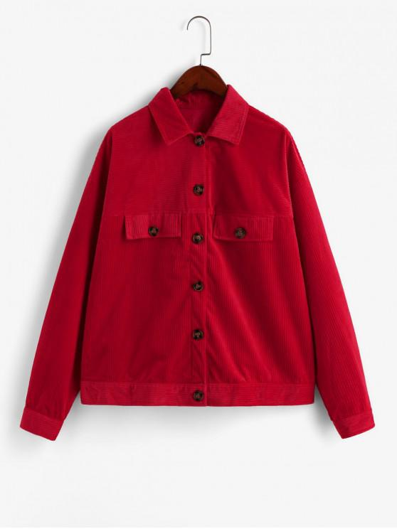 outfits ZAFUL Button Front Faux Pockets Corduroy Shirt Jacket - RED L