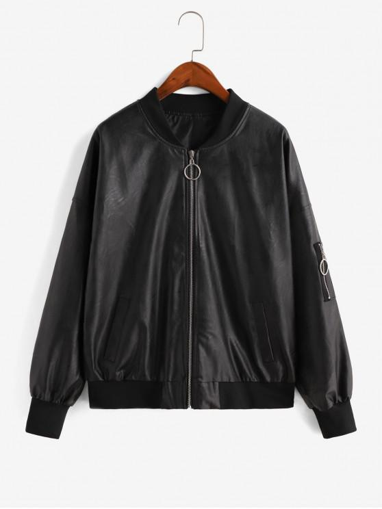 affordable Faux Leather Pull Ring Zip Pocket Pilot Jacket - BLACK L