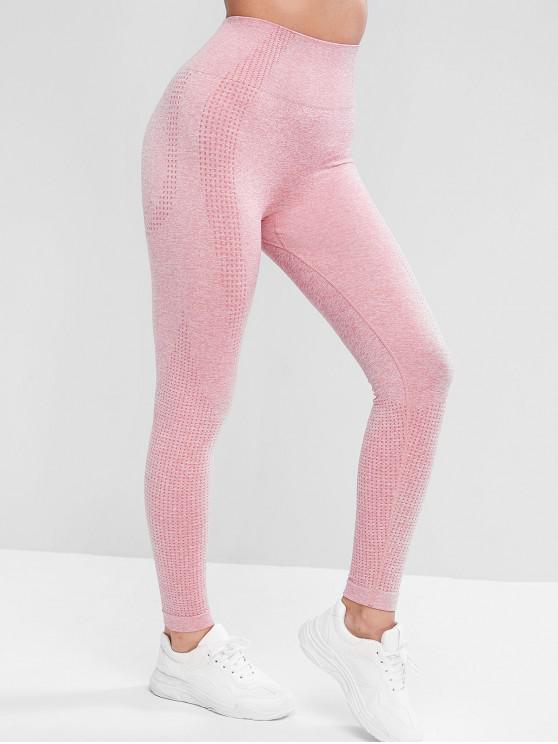 best Sports Pull On Heathered High Waisted Leggings - PINK L