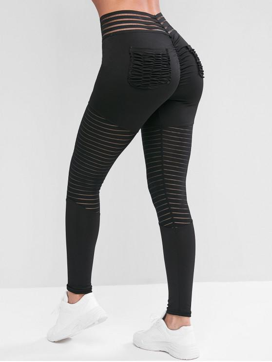 womens Pockets Shadow Stripes Scrunch Butt Sports Leggings - BLACK L
