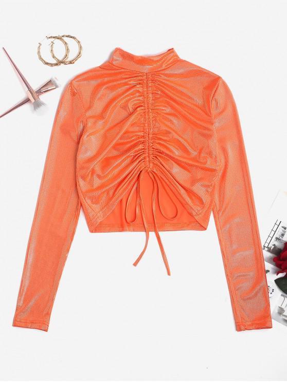 lady Metallic Foil Dot Cinched Neon Crop Tee - ORANGE M