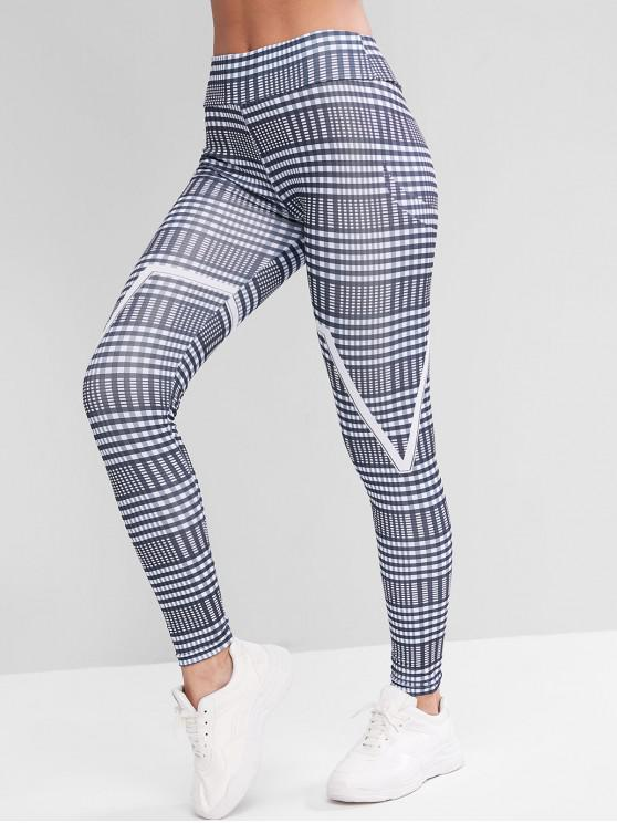 outfits High Waisted Pull On Contrast Plaid Leggings - MULTI-A M