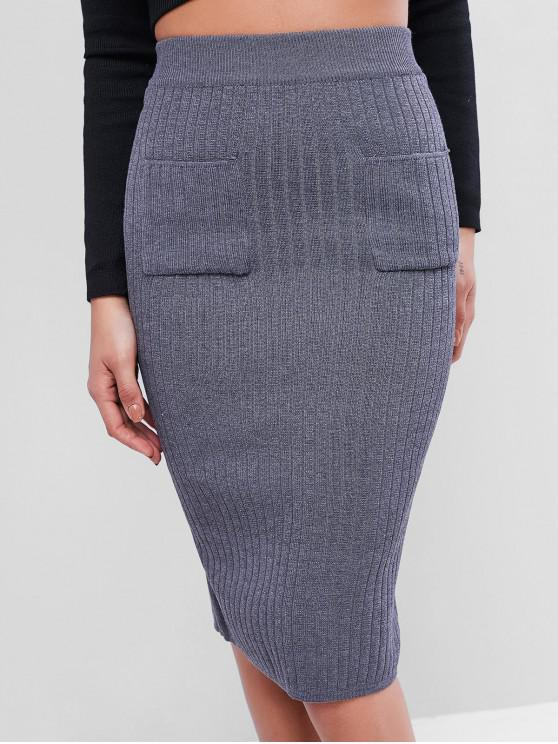 shops Front Pocket Knit Pencil Skirt - DARK GRAY ONE SIZE