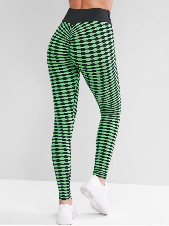 outfit High Waisted Textured Scrunch Butt Sports Leggings - GREEN XL