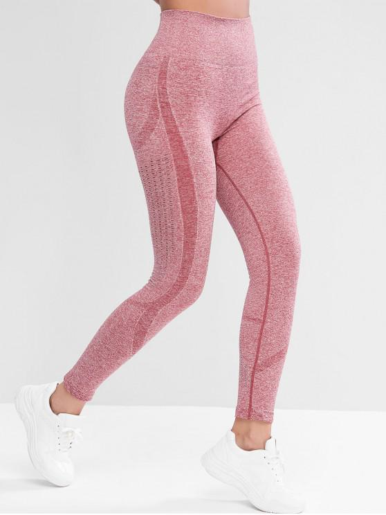 shop High Waisted Openwork Heathered Sports Leggings - RED L