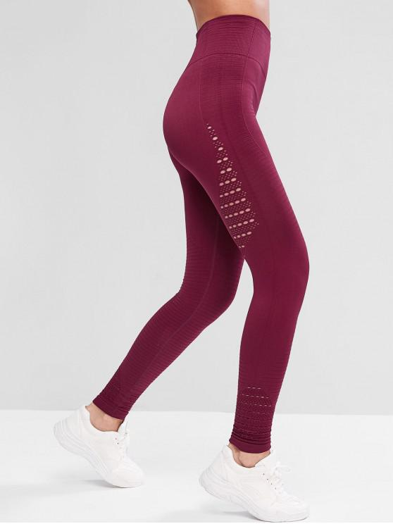 latest High Waisted Solid Openwork Sports Leggings - RED WINE L