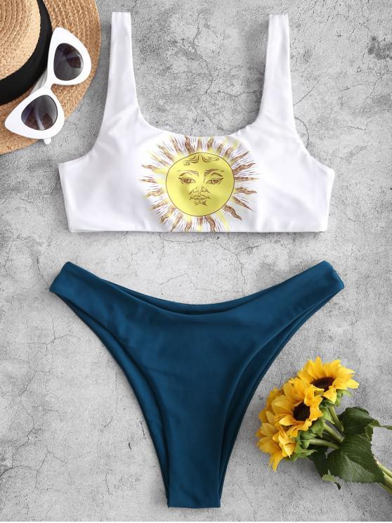 women's ZAFUL Sun Print High Leg Bikini Swimsuit - WHITE M