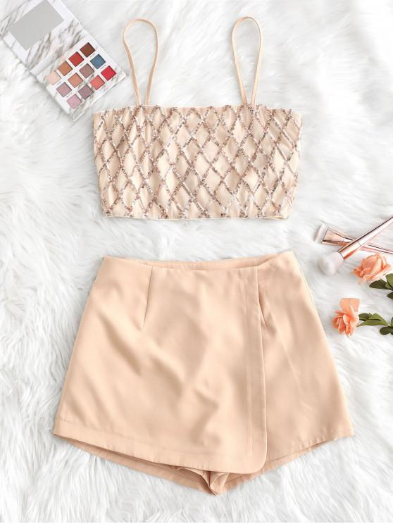 affordable ZAFUL Geometric Sequined Cami Top And Wrap Culotte Set - ROSE S