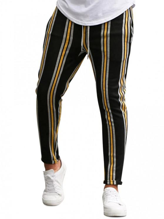 outfit Vertical Striped Lounge Pencil Pants - YELLOW M