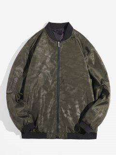 Camouflage Design Zip Up Jacket - Army Green Xs