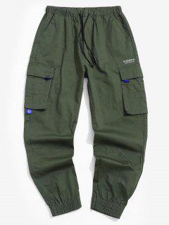 Pocket Decorated Letter Printed Cargo Pants - Army Green Xs