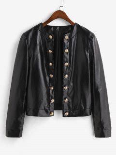 ZAFUL Metallic Button Front Shoulder Pads PU Leather Jacket - Black M