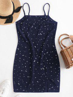 ZAFUL Moon And Star Metallic Thread Cami Slit Dress - Lapis Blue M