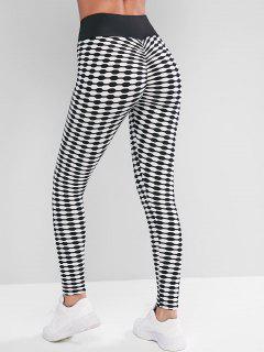 High Waisted Textured Scrunch Butt Sports Leggings - White S