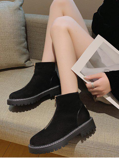 women's O-ring Front Zip Low Heel Ankle Boots - BLACK EU 40 Mobile