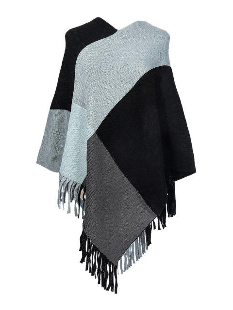 women's Colorblock Checkered Fringe Long Shawl - GRAY  Mobile