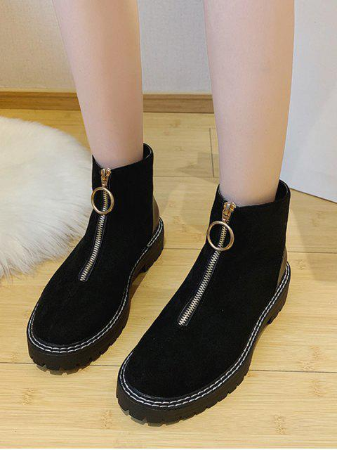 Bottines à Cheville Zip en Avant Bague en O à Talon Bas - Noir EU 38 Mobile