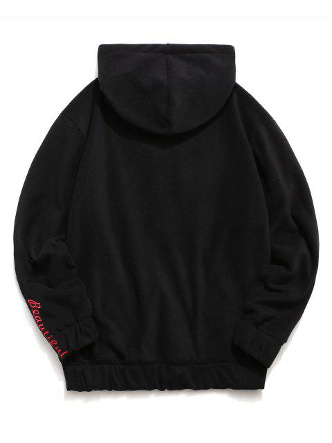 chic Rose Letter Embroidered Hoodie - BLACK 2XL Mobile