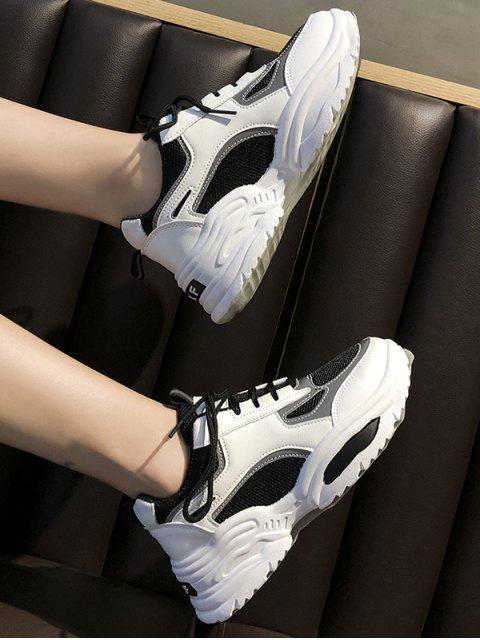 chic Contrast Trim Breathable Mesh Dad Sneakers - BLACK EU 40 Mobile