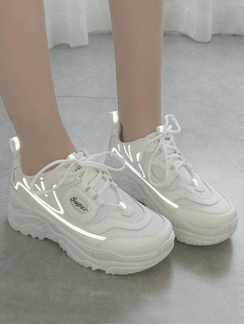 buy High Platform Breathable Outdoor Sneakers - WHITE EU 37 Mobile