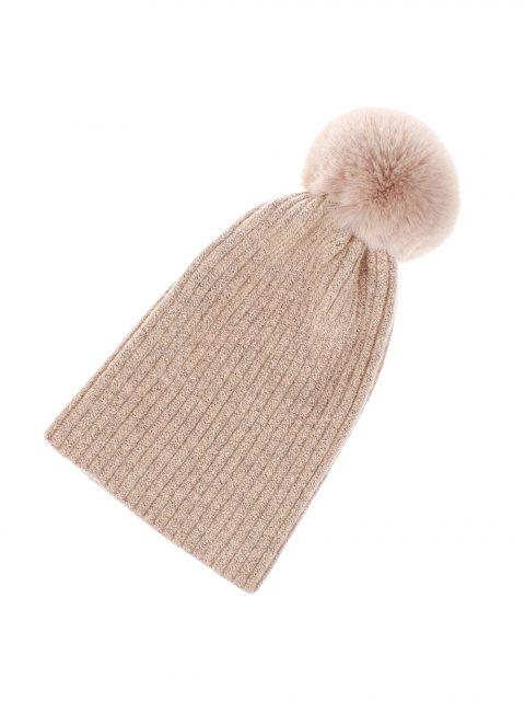 fashion Winter Knitted Solid Ball Hat - PINK  Mobile