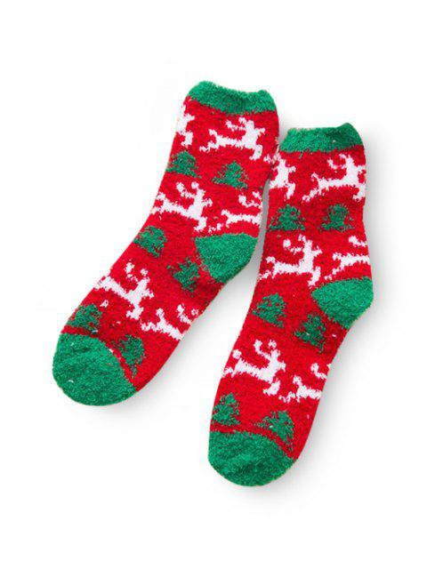 outfits Christmas Tree Suede Quarter Length Socks - MULTI-E  Mobile