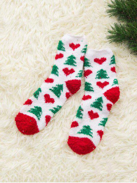 lady Christmas Tree Suede Quarter Length Socks - MULTI-C  Mobile