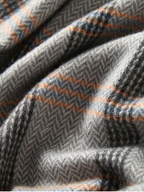 outfits Plaid Herringbone Fringed Scarf - GRAY  Mobile