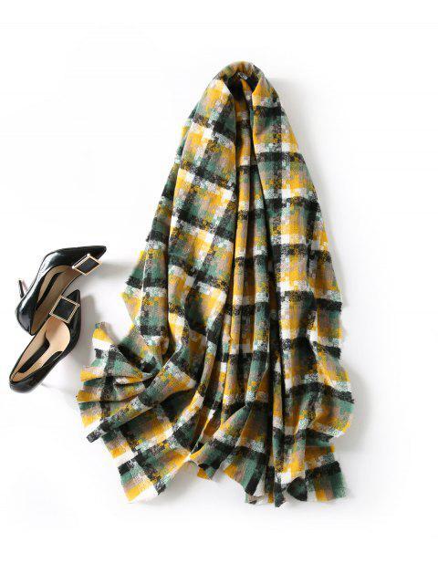buy Winter Plaid Fringe Long Scarf - GINGER BROWN  Mobile
