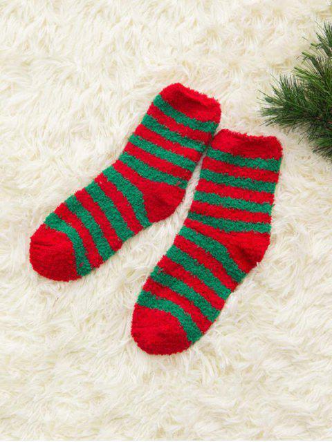 fashion Christmas Tree Suede Quarter Length Socks - MULTI-A  Mobile