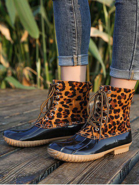 fancy Shell Toe Lace Up Rain Boots - LEOPARD EU 39 Mobile