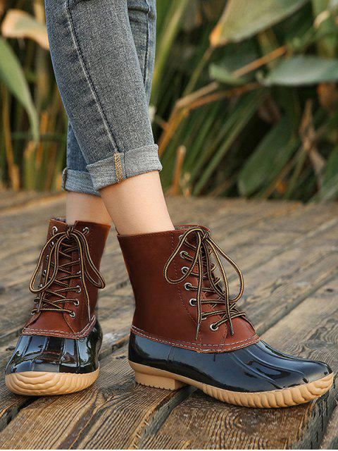 new Shell Toe Lace Up Rain Boots - BROWN EU 36 Mobile