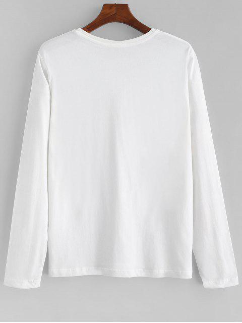 Carta Estampado casual manga larga camiseta - Blanco S Mobile