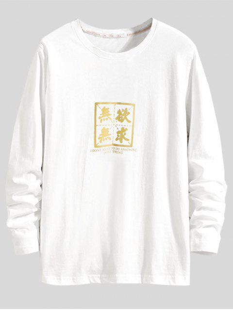 Carta Estampado casual manga larga camiseta - Blanco M Mobile