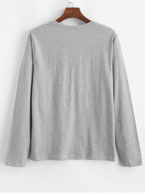 Carta Estampado casual manga larga camiseta - Gris XL Mobile