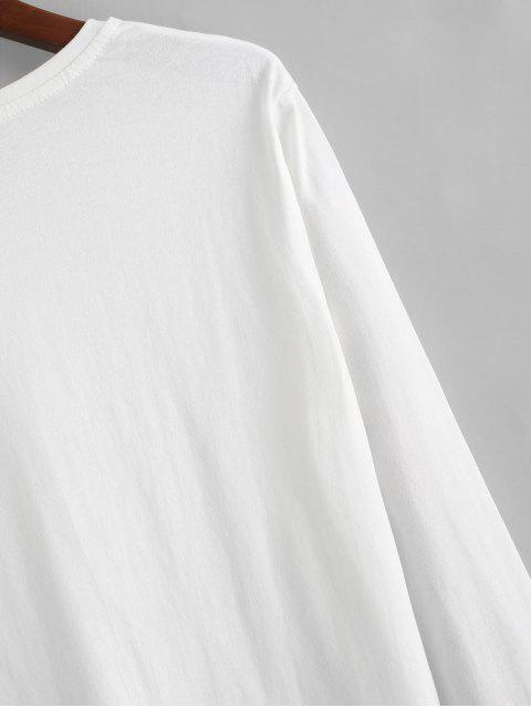 Carta Estampado casual manga larga camiseta - Blanco XL Mobile