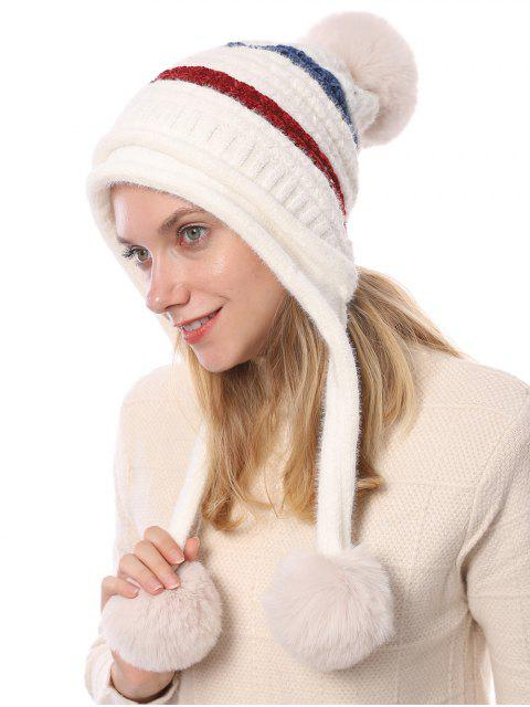 hot Winter Fuzzy Ball Decorated Knitted Striped Hat - WHITE  Mobile