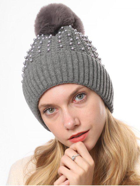women's Knitted Pearl Decorate Winter Hat - GRAY  Mobile