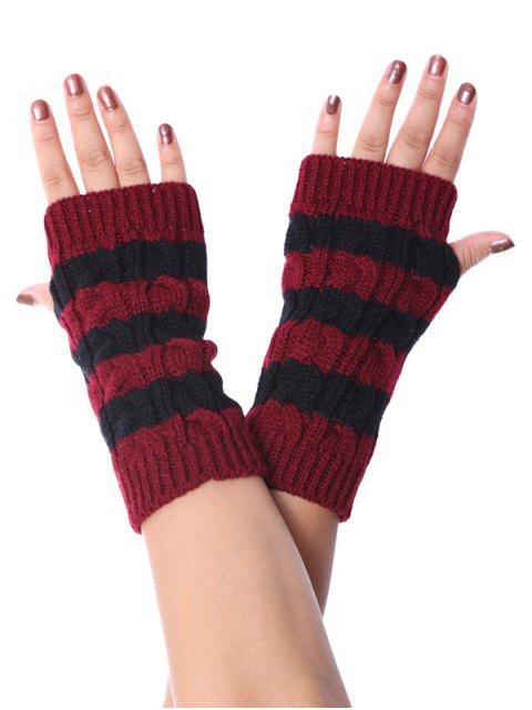outfit Striped Fingerless Braid Knitted Gloves - RED WINE  Mobile