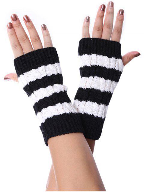 Полосатый узор Без пальцев Трикотажные Перчатки - Чёрный  Mobile