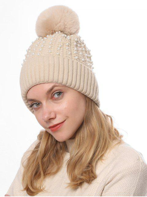 ladies Knitted Pearl Decorate Winter Hat - BEIGE  Mobile