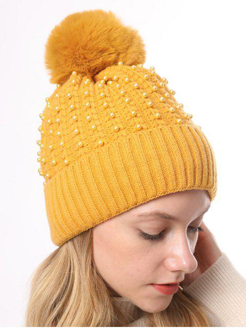 buy Knitted Pearl Decorate Winter Hat - YELLOW  Mobile