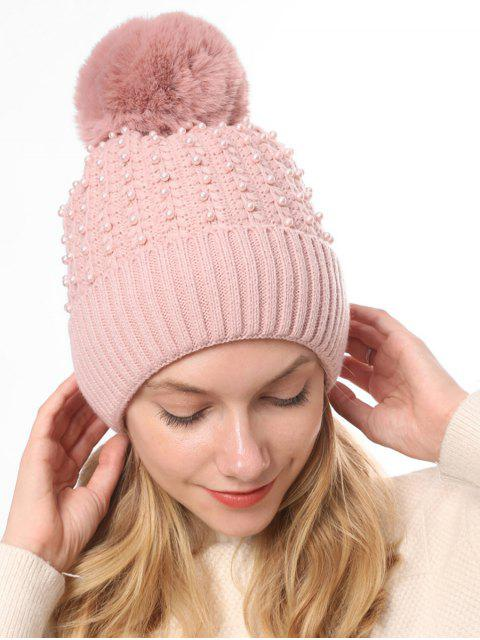 best Knitted Pearl Decorate Winter Hat - PINK  Mobile